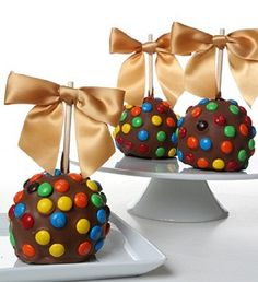 Chocolate Dipped Apples, decorated by hand with M & M's