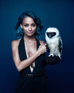 Exclusive: An Inside Look at Nicole Richie's House of Harlow Campaign via @WhoWhatWear--- love the blue/green hair+cute little owl