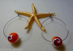 Kai Love Designs® of Hawaii present FLOATING ORANGE SWIRL SHELL PEARL Earrings