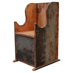 Early American Low-wing Chair - An amazing early American side chair which was made to bring from the porch to the kitchen.   United States, circa 1840 - Galerie Half, Los Angeles, CA