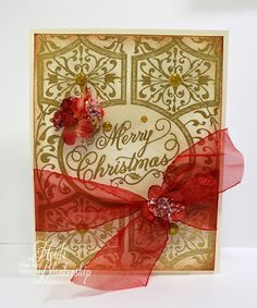 The Stamp Simply Ribbon Store - Golden Vintage Merry Christmas Card