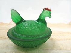 Green Hen Chicken on Nest - RARE Boyd Green Red Coxcomb - Small by UrbanRenewalDesigns on Etsy