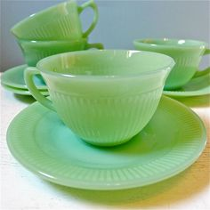 Vintage Fire King Jadite Jadeite Jane Ray Cups and Saucers Set of 4