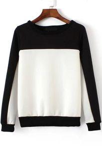sudadera cuello redondo bicolor-blanco y negro