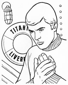 The Time Tunnel colouring book: Tony Newman on the deck of the Titanic. Colouring, Coloring Books, Allen Show, The Time Tunnel, James Darren, Irwin Allen, Sci Fi Tv Series, Titanic, Movies And Tv Shows