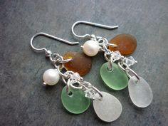 Earrings Sea Glass Sterling Beach Glass by TheMysticMermaid