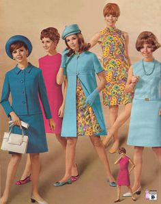 1968 Fashion vintage style dress suit coat jacket sheath shift hat shoes purse blue yellow floral pink 60s 70s mod twiggy jackie o era late