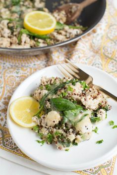 Lemon Chicken Quinoa Skillet with Baby Spinach cooks in one pan and creates a healthy meal packed with protein, greens and fresh lemon flavor!