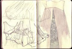 Sketch of Alexander McQueen's pieces, pencil/watercolour/fineliner - more at showtimestitches.blogspot.com