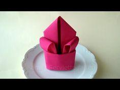 Comment Plier Une Serviette de Tissu en Forme de Rose Dans 72 Secondes - YouTube