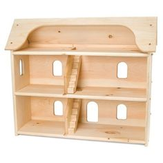 """Seri's Dollhouse is an oversized, heirloom piece of play furniture that kids will absolutely love to engage with by filling with furniture and dolls. * Free shipping!- US only (lower 48 states). Discounts and promotions do not apply. Dollhouse features:  3 floors 4 rooms + Attic 2 staircases Sloped roof Rounded corners  Ships flat packed. Easy assembly takes only a few minutes. Instructions included. Dimensions: 27""""H x 30""""W x 12""""D. Each level is 8"""" high from floor to ..."""