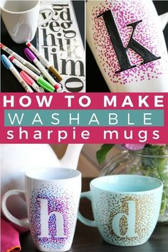 Easy Dotted Sharpie Mugs - DIY sharpie mugs are an inexpensive and easy gift idea. Best of all, DIY sharpie mugs can be customized a zillion different ways and are washable if y. Sharpie Cup, Sharpie Crafts, Sharpies On Mugs, Coffee Mug Sharpie, Coffee Mug Crafts, Sharpie Shoes, Sharpie Projects, Tape Crafts, Coffee Art