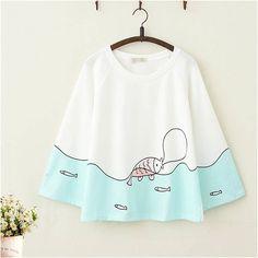 Fish Pattern Top – YihFoo Source by yihfoo_store kawaii Kawaii Fashion, Cute Fashion, Girl Fashion, Fashion Design, Fashion Styles, Miss Mode, Teen Fashion Outfits, Girl Outfits, Moda Outfits