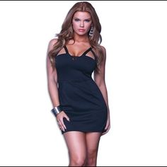 Mini Dress with Cutouts #883763-S Mini dress with cutouts and side pockets. 92% Polyester 8% Spandex. Dresses Mini