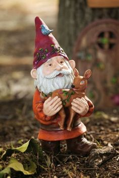 """Fawn & Gnome Statuary by Outdoor Decor. Save 17 Off!. $26.38. A unique and fun gift for anyone who loves the outdoors. Multi-colored. Painted Resin. Part of the charming Gnome Sweet Gnome collection by Jeff Mora. 4.5""""L x 4.5""""W x 10""""H. Inspired by all of the forest dwellers that come to life when we are not looking, this gnome is whimsical and delightful. Giving a glimpse into the life of friends of the forest who work hard by day and then relax in their village accompanied by a..."""