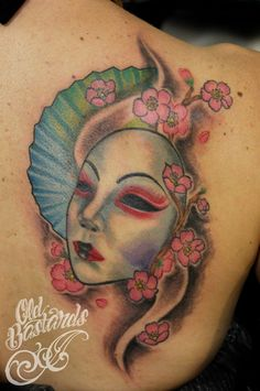 Japanesse mask, cherry blossom Cherry Blossom, Watercolor Tattoo, Skull, Portrait, Tattoos, Tatuajes, Headshot Photography, Tattoo, Portrait Paintings