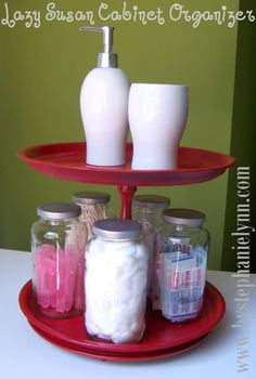 Under The Table and Dreaming: DIY Under Cabinet Lazy Susan {Rotating Organizer Stand}