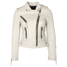 Ahhh! I sooo want a white leather jacket like this!  Quilted Jacket Womens Ivory, $435, now featured on Fab.