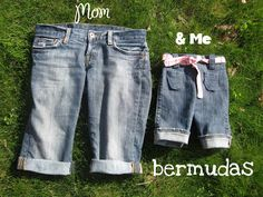 Re-Purposed Mom & Me Bermudas - Peek-a-Boo Pages