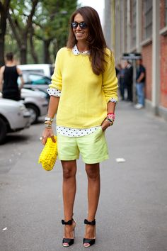 STREET STYLE SPRING 2013: MILAN FW - Mellow yellow separates is a cool take on monochromatic.