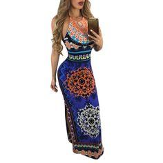 Maxi Dress Summer Bohemian Boho Dress 2017 New Fashion Sexy Sleeveless Print Bandage Tank Long Dresses Hollow Out Slit #Affiliate
