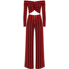 WearAll Striped Crop Top Palazzo Trousers Co-Ord ($47) ❤ liked on Polyvore featuring red
