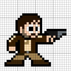 Cassian Andor Perler Bead Pattern Pearler Beads, Fuse Beads, Pixel Art Templates, 8 Bits, Xmas Cross Stitch, The Force Is Strong, Bead Art, Beading Patterns, Arts And Crafts