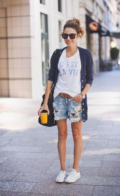 blue cardigan, white t-shirt, denim short, white converse