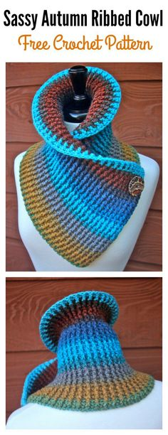 Tunisian Crochet Sassy Autumn Ribbed Cowl Free Crochet Pattern for Beginner Col Crochet, Tunisian Crochet, Crochet Shawl, Easy Crochet, Free Crochet, Crochet Birds, Crochet Food, Crochet Bear, Crochet Animals