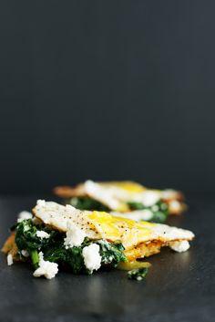 Feta Eggs Florentine on Hashbrown
