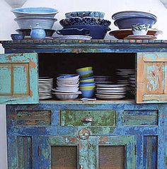 blues and greens on old cupboard