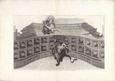 Bernard Picart | Mercurius met een trompet en putti die de huid van de Nemeïsche leeuw dragen, Bernard Picart, 1713 - 1719 | Mercurius, de boodschapper van de goden, komt aanvliegen met een trompet in zijn hand. Putti dragen de huid van de door Hercules overwonnen Nemeïsche leeuw. Langs de randen instructies voor het monteren van de prent aan andere prenten. Prent maakt deel uit van een serie prenten, die samen het geschilderde plafond met de Apotheose van Hercules in het Hôtel Lambert te…