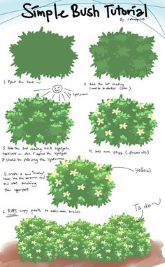 Bush tutorial by catnappe143.deviantart.com on @deviantART ✤ || CHARACTER DESIGN REFERENCES | キャラクターデザイン |  • Find more at https://www.facebook.com/CharacterDesignReferences  http://www.pinterest.com/characterdesigh and learn how to draw: concept art, bandes dessinées, dessin animé, çizgi film #animation #banda #desenhada #toons #manga #BD #historieta #strip #settei #fumetti #anime #cartoni #animati #comics #cartoon from the art of Disney, Pixar, Studio Ghibli and more || ✤