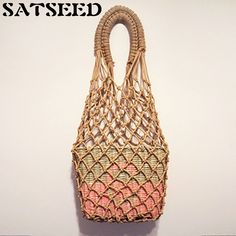 Hot Natural Color Grid Hollow Out Shopping Women Bags Casual Tote Hemp Retro Vintage Knitting Party Novelty. Yesterday's price: US $77.37 (63.98 EUR). Today's price: US $37.14 (30.56 EUR). Discount: 52%.