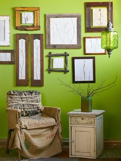 Twigs, leaves, branches, and other elements from nature make quite an impression in DIY maven Michele Beschen's plaster of Paris wall art. Learn how to make your own with our easy to follow step-by-step guide.  What you'll need:  Cutting board  Duck cloth or muslin  Moist earth clay  Rolling pin  Empty wooden frame  Branches, leaves, and other nature objects  Clay tools  Plaster of Paris  Wire hook for hanging
