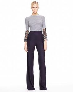 Carolina Herrera Cutout-Sleeve Striped Top & Heather Tropical Wool Pants - Neiman Marcus
