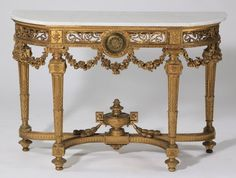 19th c. French marble top gilt wood console : Lot 502