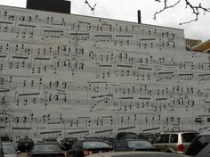 """Schmitt Music Mural - Minneapolis, MN. The music is from Maurice Ravel's """"Gaspard de la Nuit, considered to be a particularly graphically pleasing piece of music."""