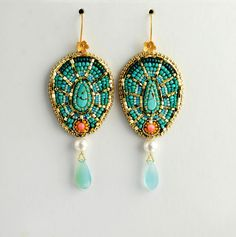 Moroccan Passion  Bead Embroidered Earrings by LuxVivensFashion, $135.00