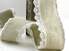 "Wired Ivory Burlap Ribbon, Lace Trim, 1.5"" wide Ribbon by the yard, Weddings, Wreaths, Gift Wrap, Home Decor, DIY Wedding, Party Supplies"