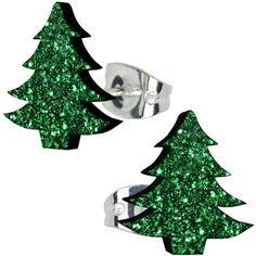 Shamrock Green Glitter Christmas Tree Stud Earrings #bodycandy #glitter #christmas $4.99