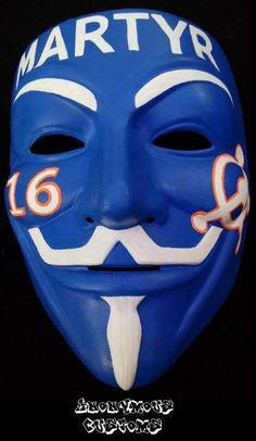 Anonymous Martyr White On Blue Custom Mask Guy Fawkes Hand Painted Mask Guy, Guy Fawkes Mask, Anonymous Mask, Memphis, Masks, Hand Painted, Wallpaper, House, Fictional Characters