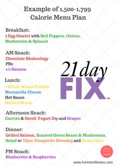 21 Day Fix Menu Plans: 1500-1799 Calories - Beach Ready Now