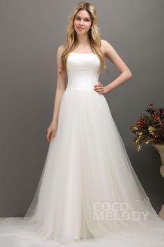Graceful+A-Line+Strapless+Court+Train+Tulle+Wedding+Dress+CWLT1309E