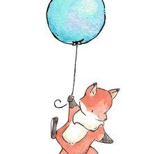 Children Art Print. Fox Flys Away. PRINT 8X10. Nursery Art Home Decor