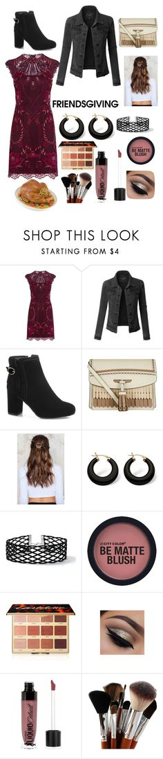 """""""friendsgiving"""" by somalove ❤ liked on Polyvore featuring Karen Millen, LE3NO, Burberry, NA-KD, Palm Beach Jewelry, Miss Selfridge, tarte and Wet n Wild"""