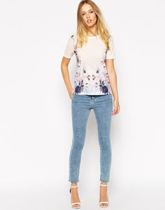 Image 4 ofASOS T-Shirt in Crepe with Placement Flower Print