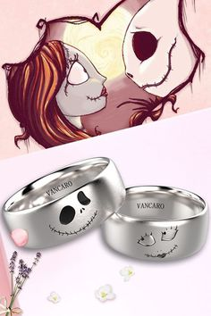 Nightmare before Christmas Jack And Sally Rings In Titanium For Couples