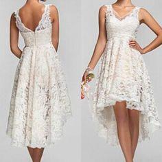 2015 Plus Size High Low Wedding Dresses Vintage Lace V Neck Back Garden Bridal Gowns Custom Made Bridesmaid Dresses Short Beach