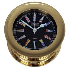 Atlantis Quartz Clock Black Dial with Color Flags